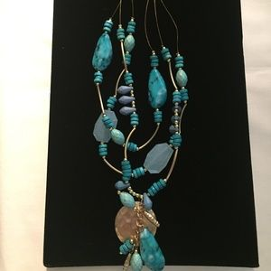 CHICOS MULTI STRAND TURQUOISE COLORED NECKLACE